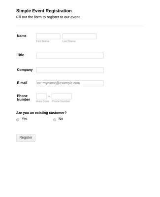 Simple Event Registration Form