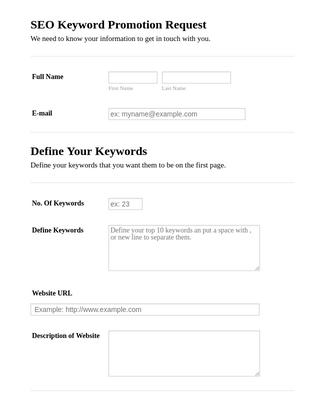 SEO Keyword Promotion Request Form