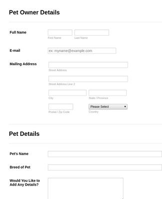 Pet Prescription Form