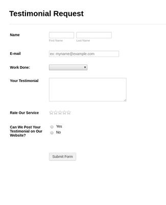 Testimonial Request Form