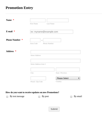 Promotion Entry Form