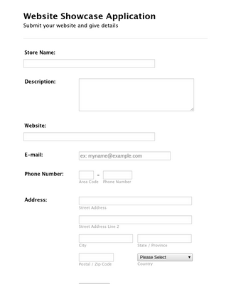 Website Showcase Application Form