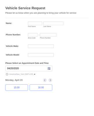 Vehicle Service Request Form