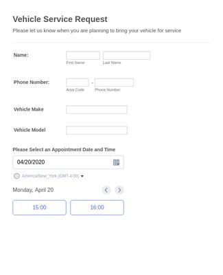 Vehicle Service Request Form Template Jotform