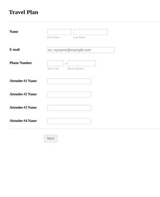 Travel Plan Form