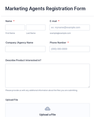 Marketing Agents Registration Form