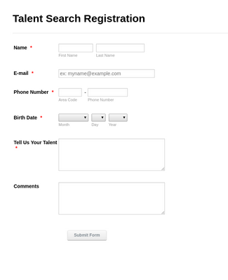 Talent Search Registration Form