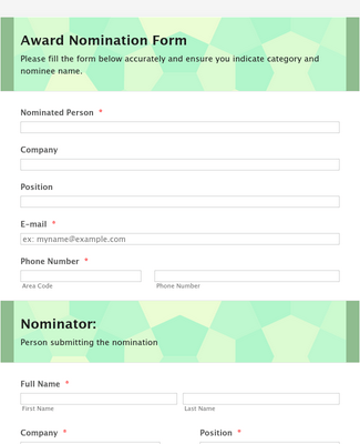 Organization Awards Nomination Form