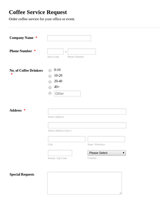 Coffee Service Request Form