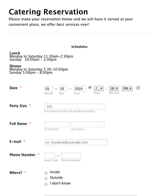 Catering Reservation Form