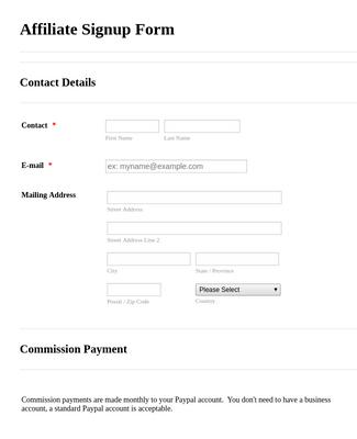 Affiliate Signup Form