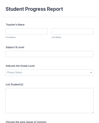 Student Progress Report Form Template Jotform