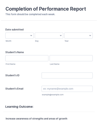 Student Perfomance Evaluation form