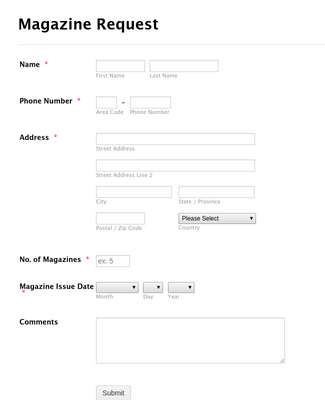 Magazine Request Form