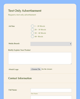 Text Only Advertisement Form