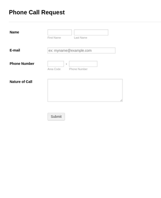 Phone Call Request Form
