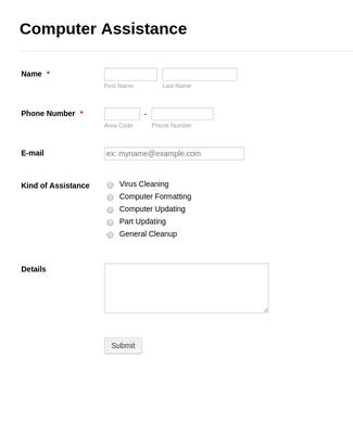 Computer Assistance Form