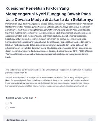 Faktor Yang Mempengaruhi Nyeri Punggung Bawah Pada Usia Dewasa Madya Di Jakarta Dan Sekitarnya Form Template Jotform