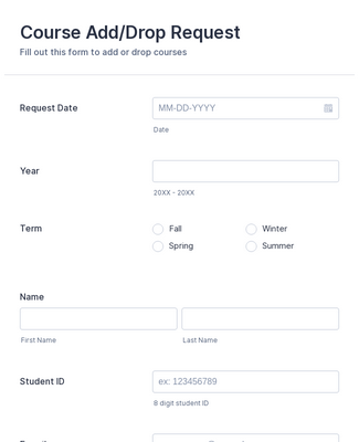 Course Add/Drop Request Form