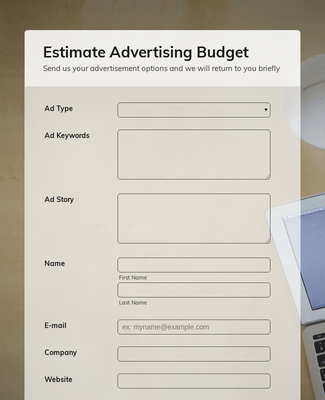 Estimate Advertising Budget Form