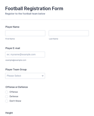 football registration sample