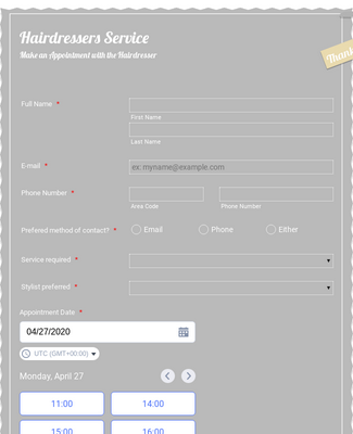 Hairdressers Appointment Request Form