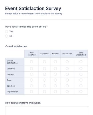 Event Satisfaction Survey Form