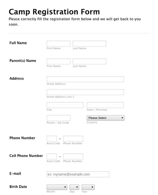 Camp Registration Form 3