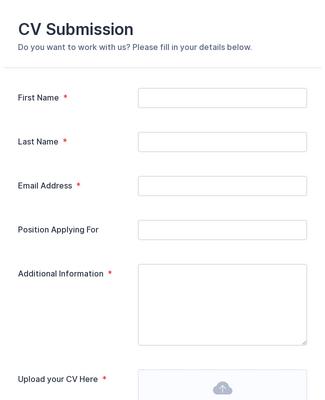 Cv Application Form Template Jotform