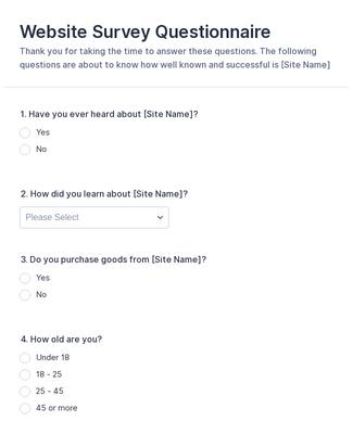 250 Questionnaire Templates Examples Jotform
