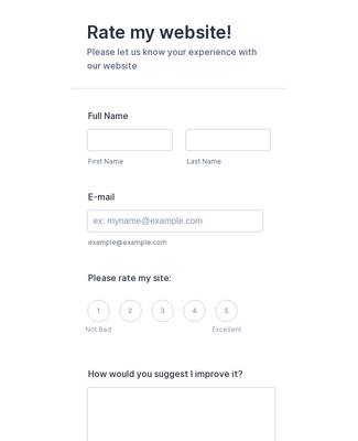 Rate my website Form