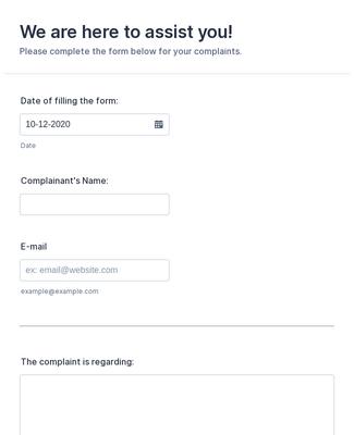 Online Complaint Form