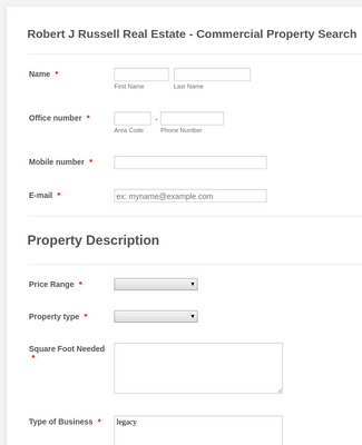 Property Valuation Request Form