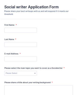 Social writer Application Form