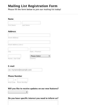 Mailing List Registration Form