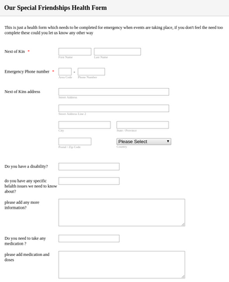 Special Needs Health Form