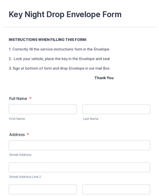 Key Night Drop Envelope Form