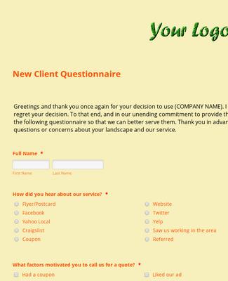Lawn Care Landscaping New Client Questionnaire Form Template Jotform