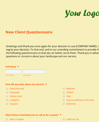 Lawn Care/Landscaping New Client Questionnaire