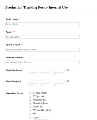 Post Production Tracking Form