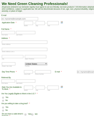 Cleaning Job Application Form Template Jotform