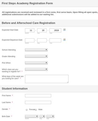 before and afterschool care registration form template. Black Bedroom Furniture Sets. Home Design Ideas