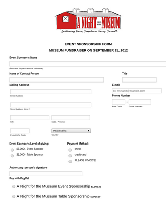 Event Sponsorship Form