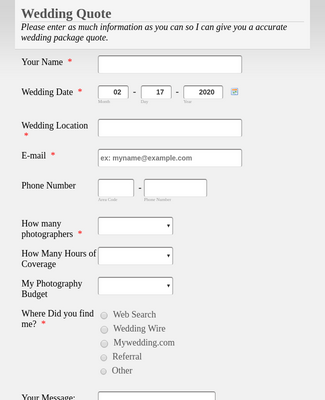 Wedding Information Form