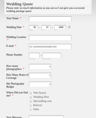Wedding Information Form