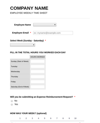 Employee Timesheet And Reporting Tool Form Template Jotform