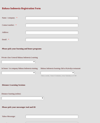 Registration Form Bahasa Indonesia Learning Programs