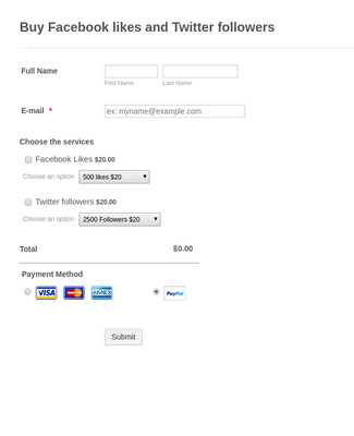 Facebook likes and Twitter followers Order Form