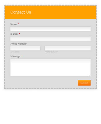 Contact Form With Orange Envelope Theme
