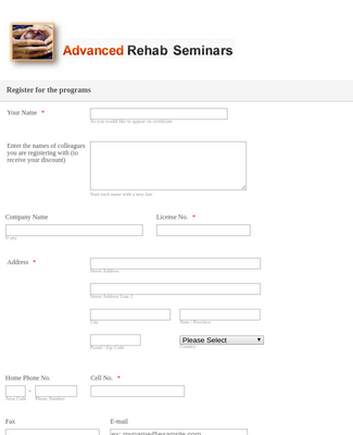 Seminar Program Registration Form